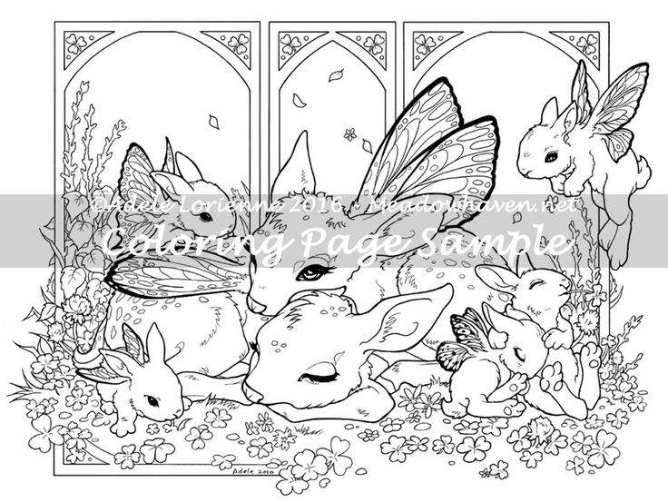 Art Of Meadowhaven Fantasy Coloring Page Download Clover Morning By On Etsy