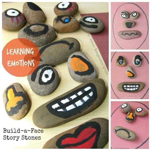 Teaching emotional intelligence and feelings with build-a-face story stones! A simple preschool activity to help children learn and articulate emotions.