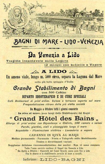 Manifesti pubblicitari dei primi del'900 - Stabilimento Balneare di Venezia Lido