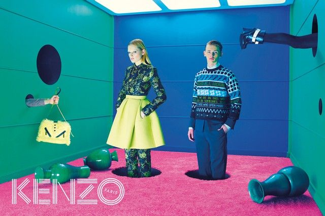 Kenzo AW14 Campaign, inspired by David Lynch, featuring Guinevere Van Seenus and Robert McKinnon.