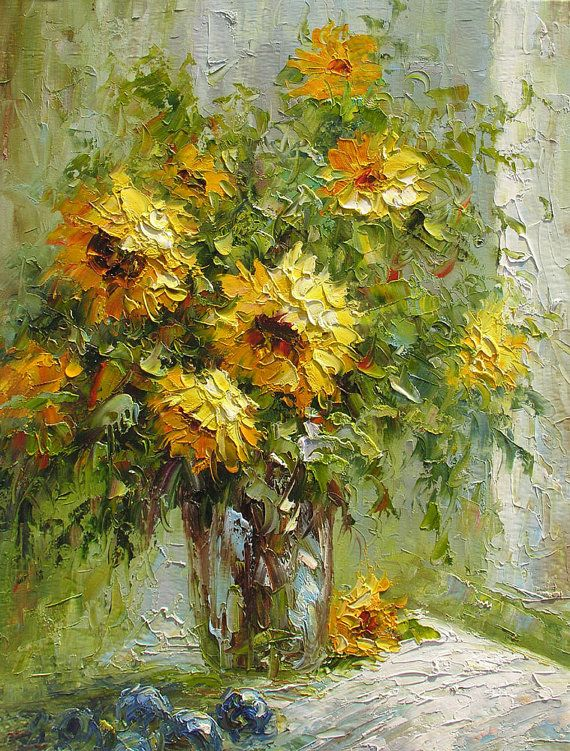 oil painting palette knife made to order yellow sunflowers