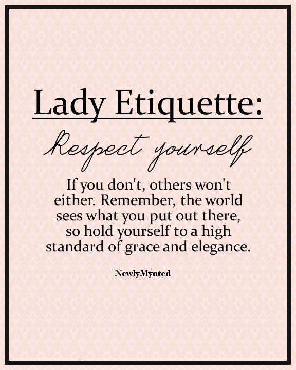 This is terrific. I feel we need more grace and elegance in this world. And by the way-grace and elegance isn't about what you wear, how you sit or stand- it's about how you treat people.