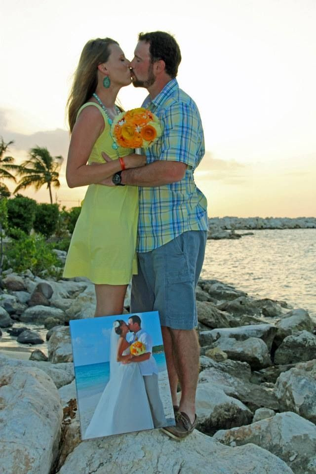 Anniversary photo idea...take a picture each year with the one before :) our one year in Jamaica!