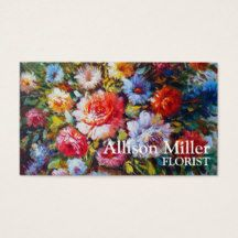Colourful Vintage Floral Flowers Art Personalized Business Card