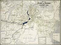 Map of Sydney & suburbs showing tramway lines and stopping places, 1894.  Similar to the 1892 maps of Sydney's tramways it builds on the tramways map of 1892 by adding names of electoral wards in the city and municipalities in the suburbs.