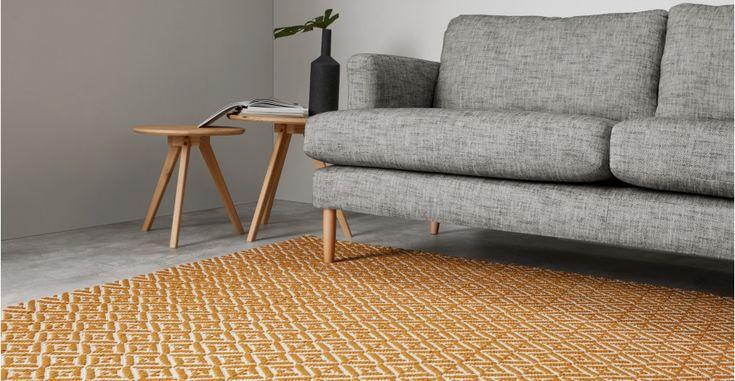 Mustard Yellow Rug Wool Flatweave Geometric 120 x 170cm Mira   MADE.com