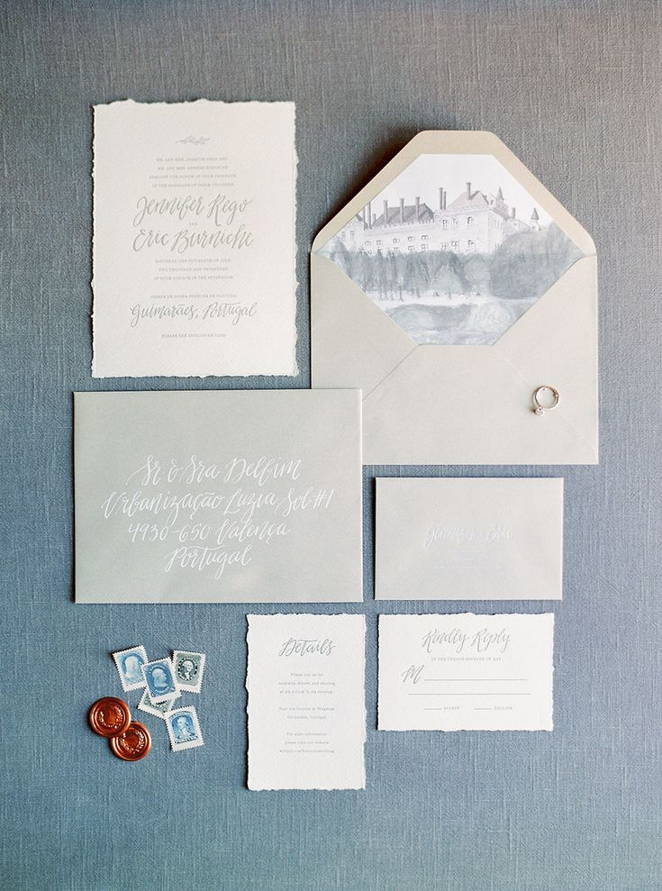 elegant wedding invitations in gray