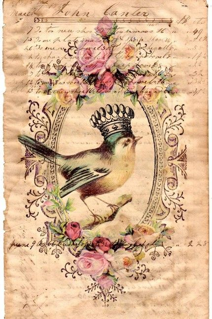 RobinTattoo Ideas, Vintage Paper, Crowns, Little Birds, Vintage Prints, Vintage Birds, Art, A Tattoo, Vintage Rose