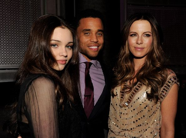 """Kate Beckinsale Photos Photos - (L-R) Actors India Eisley, Michael Ealy and Kate Beckinsale pose at the after party for the premiere of Screen Gems' """"Underworld Awakening"""" at the Rolling Stone Restaurant on January 19, 2012 in Los Angeles, California. - Premiere of 'Underworld Awakening' - After Party"""