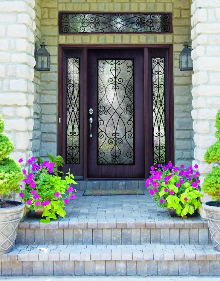 Furniture, : Delightful Front Porch Decoration Using Single Mahogany Wood  Glass Exterior Door Units Including White Stone Exterior Wall And Black  Glass ...