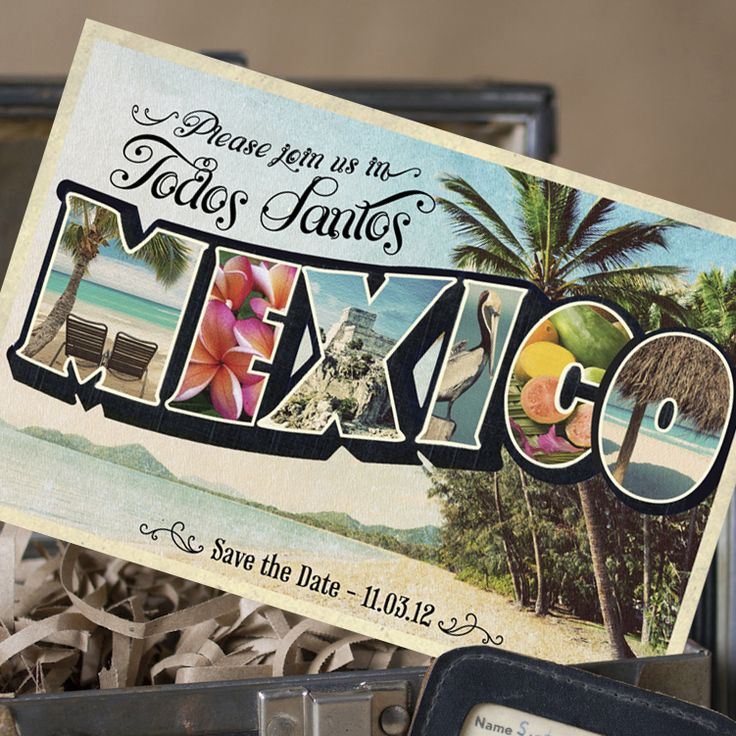 cruise wedding save the date announcement%0A Vintage Large Letter Postcard Save the Date  Mexico   Design Fee