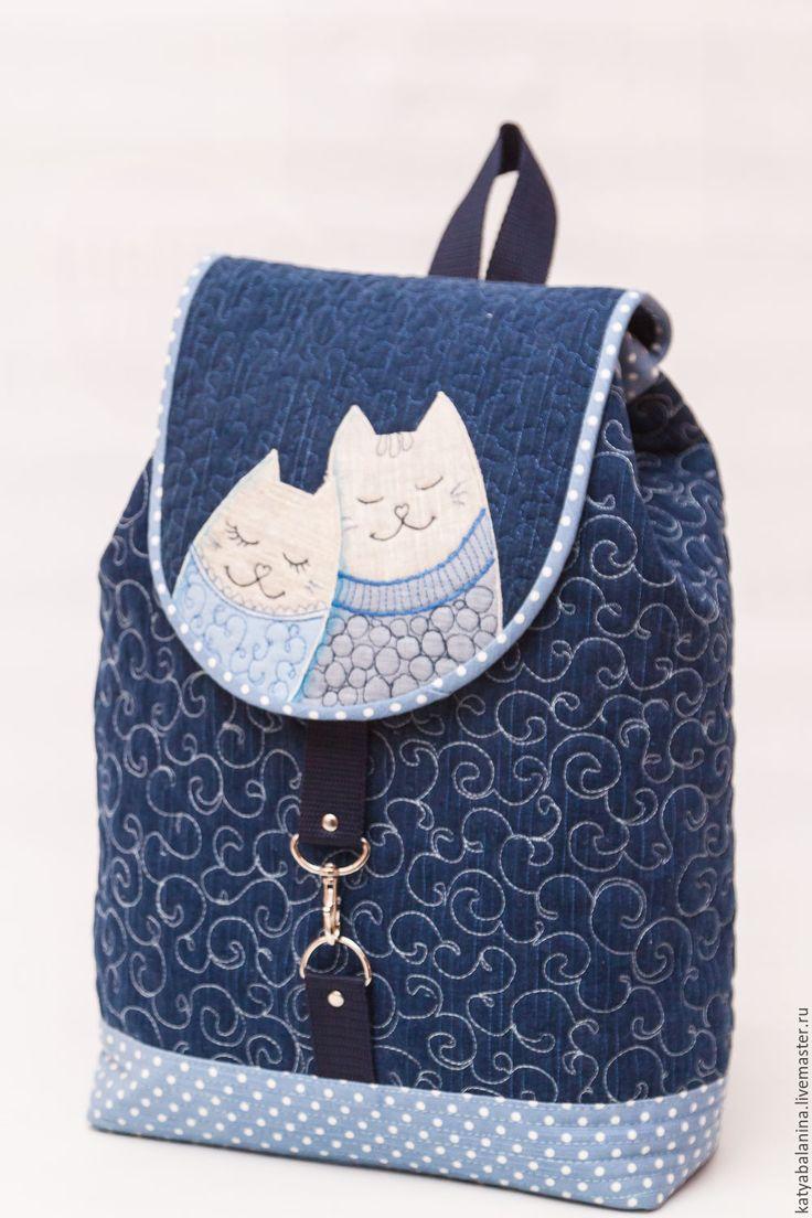 Купить Джинсовый рюкзак Март в горошек - тёмно-синий, в горошек, синий, голубой, Мартовский кот