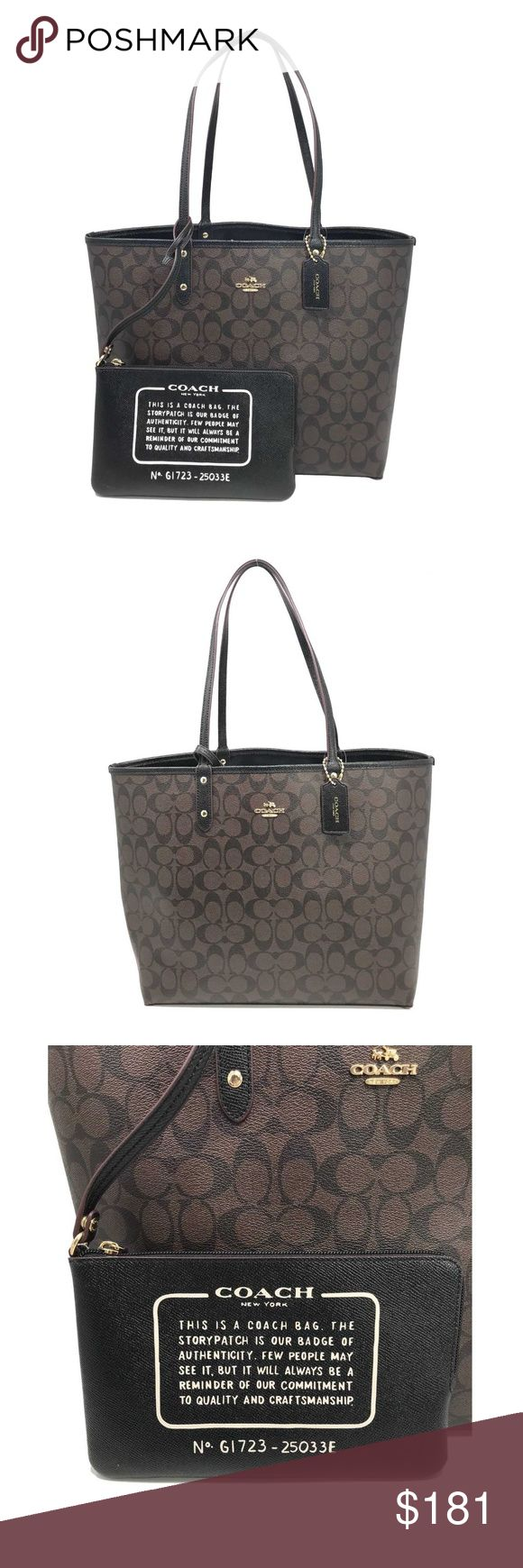 """Coach 25033E Signature Reversible PVC Tote Black Coach 25033E Signature Reversible PVC City Tote In Brown Black  item# 273106432375  100% Authentic Coach!  Buy with confidence!  • MSRP: $350.00  • Style: F58293  Features:  • Signature coated canvas  • Reversible  • Removable pouch  • Gold tone hardware  • Handles with 9 1/2"""" drop  • 13"""" (L) x 11 1/2"""" (H) x 6 1/4"""" (W)  • Imported  Please feel free to ask any questions. Happy shopping! Coach Bags Totes"""