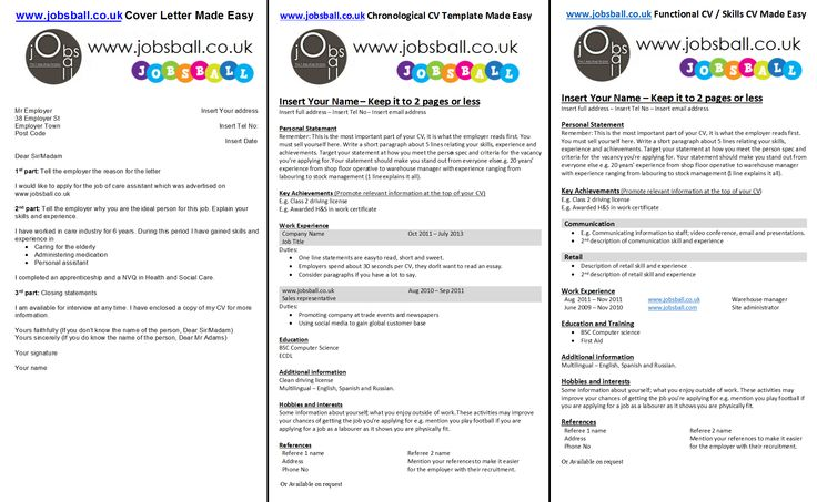 CV and Cover Letter Made Easy with www.jobsball.co.uk Simple CV and Cover Letter Templates