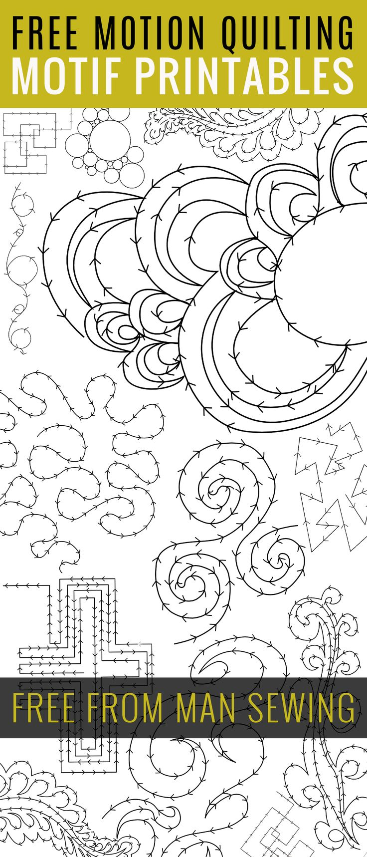 "FREE FMQ Motif Printables - several ""drills"" to learn new methods. From ""MAN SEWING"" who has other tutes and pdfs, too."