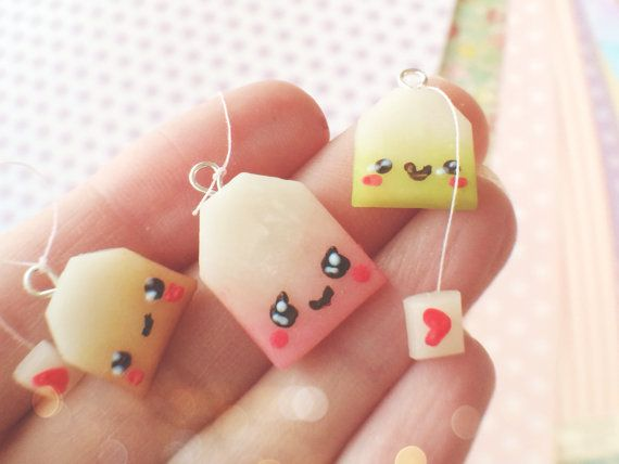 Set of 3 Kawaii Tea Bag Polymer Clay Charm van YunaCharms op Etsy, $5.50
