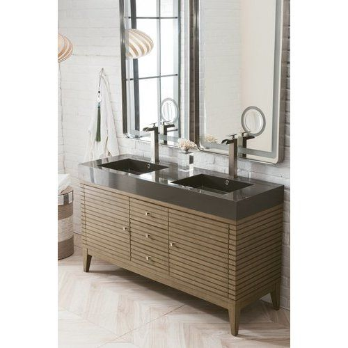 James Martin 59 Inch Linear Double Sink Vanity With Glossy Dark