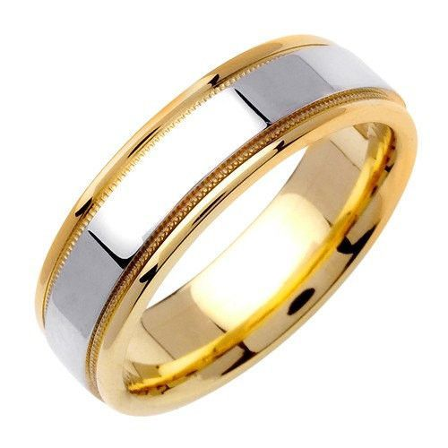 14K Two-Tone Gold Milgrain Flat Wedding Ring Band, For the Bride and Groom