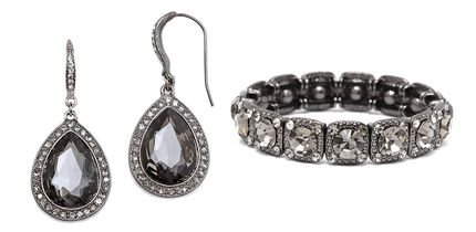 Black Diamond Earrings and Stretch Bracelet Set for weddings and prom.