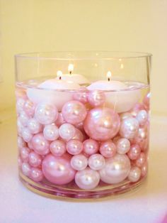 Unique Vase Fillers - 80Pc. Pack Jumbo Light Pink Pearls and White Pearls