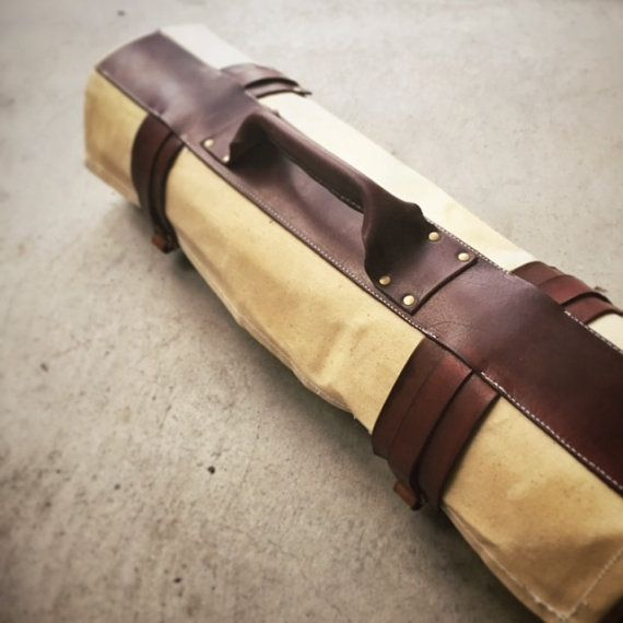 Waxed canvas and leather chef knife roll the by for Herramientas de cocina