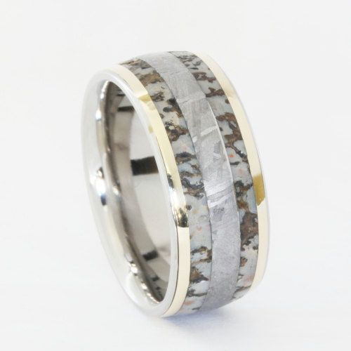 Dinosaur Bone Band with Meteorite and Gold by jewelrybyjohan, $1299.00