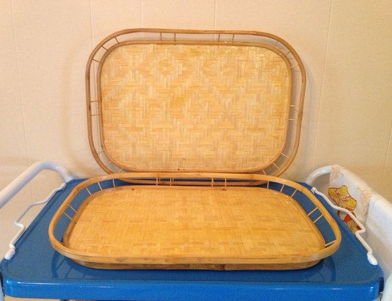 Vintage bamboo trays set wood lot of two asian TV serving on Etsy, $10.00