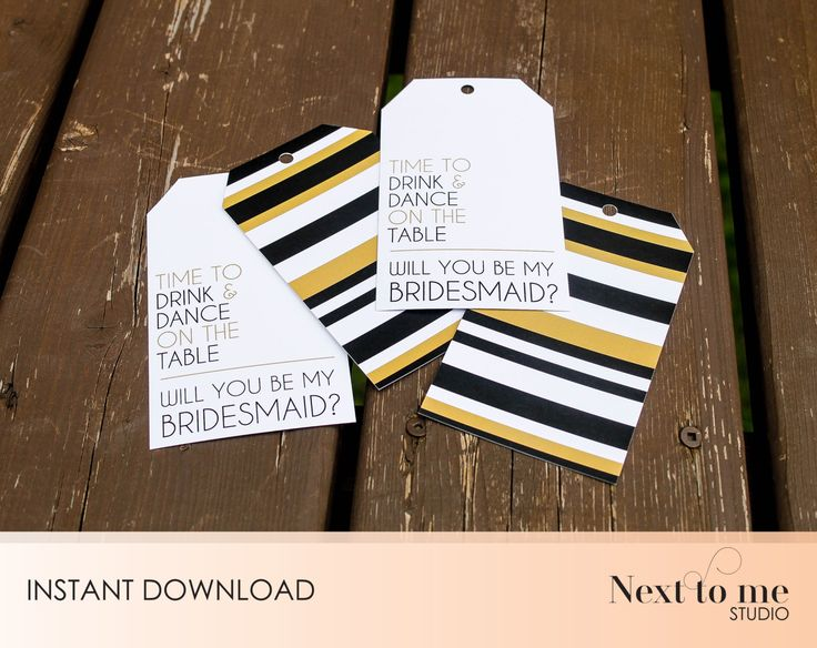 INSTANT DOWNLOAD - Will you be my bridesmaid? Tags - Wine tags - Gift tags _ wedding_ Gift _ Back pattern _ SKU: BMB_14 by NextToMeStudio on Etsy