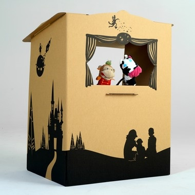 """Puppet theatre so cool for kids imagination; make out of cardboard box."" (can even have older kids decorate)"