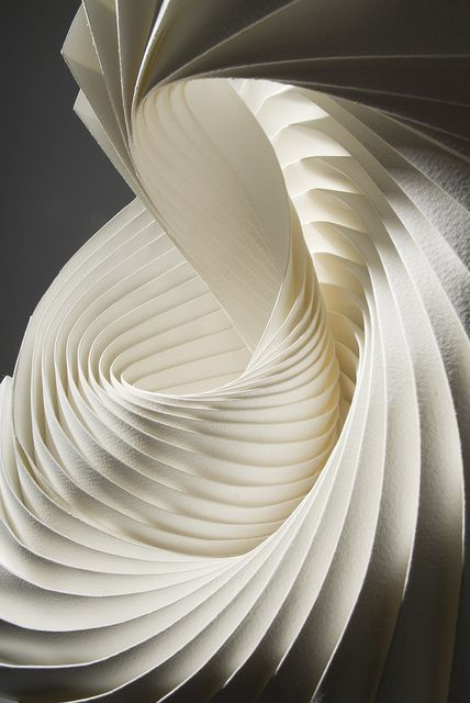 Richard Sweeney - vortex 1. Hand pleated and wet-folded watercolour paper and adhesive.