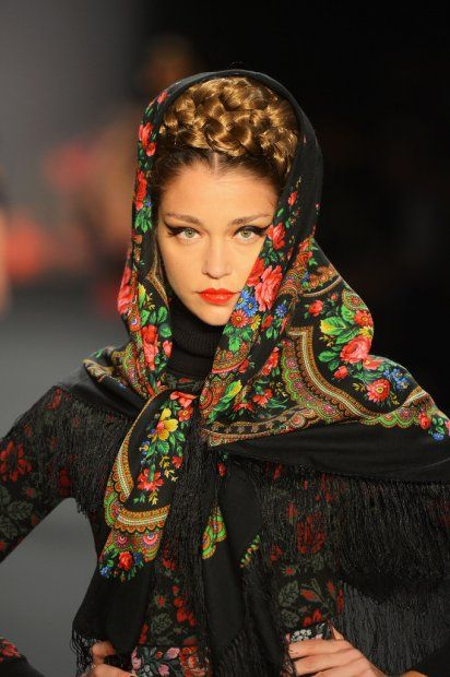 Russian inspired look.  Actually a interpretation of khokhlama ethnic motifs, national ornaments, a ancient one from XII century which is vell know all over the world with gorgeous patterns