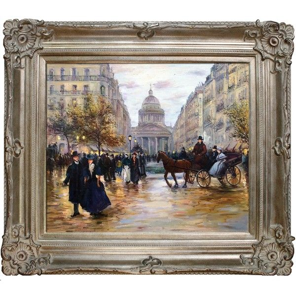 Jean Francois Raffaelli 'Boulevard Saint-Michel' Hand Painted Framed... ($355) ❤ liked on Polyvore featuring home, home decor, wall art, beige, canvas picture, paris canvas wall art, paris wall art, framed picture and framed paintings