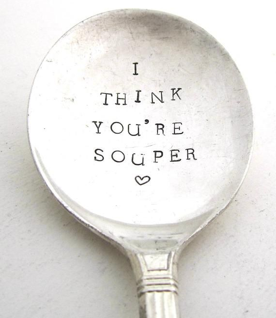 the key to his heart hand stamped silver spoon vintage teaspoon
