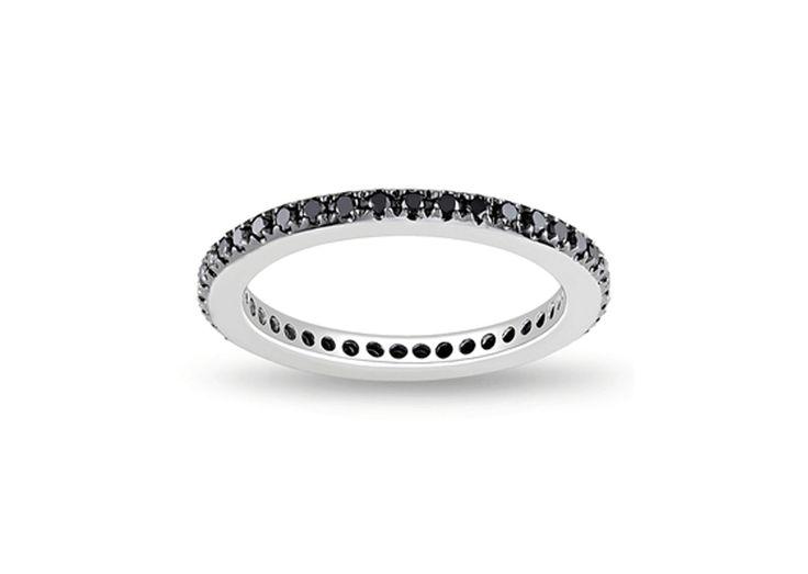 Βlack Eternity Ring Δαχτυλίδι με μαύρα διαμάντια μπριγιάν κοπής 0,15CT από λευκόχρυσο 18Κ.Price : 270€