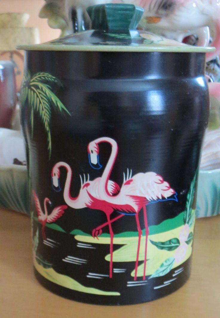Painted flamingo tin
