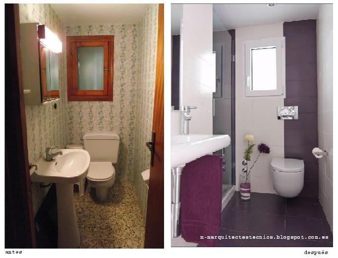 Ideas de #Decoracion de #Baño, estilo #Contemporaneo diseñado por m+m arquitectes tècnics Arquitecto Técnico con #Sanitarios #Antes y despues  #CajonDeIdeas
