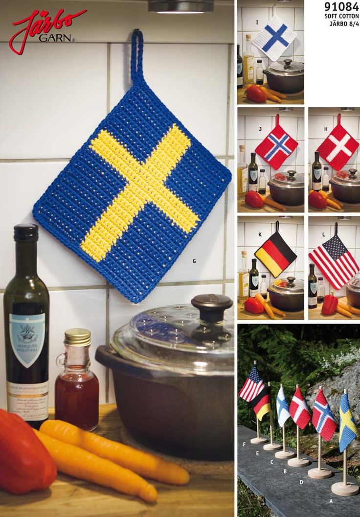 Crochet potholders and flags.