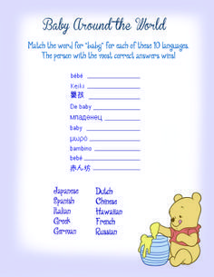 Image result for winnie the pooh baby shower games free printables
