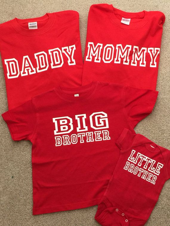 Cool T-Shirt set for Big Brother, Little Brother, Mom and Dad, Great Gifts for Dad, Personalized Gifts, Custom Shirts, Set of 4 Graphic Tees