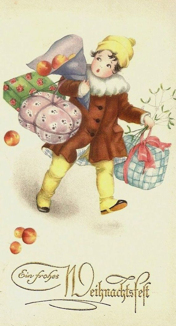 "Antique German Christmas Postcard  ... Little Girl with presents. Peaches falling out of bag. ""Merry Christmas"" in German."