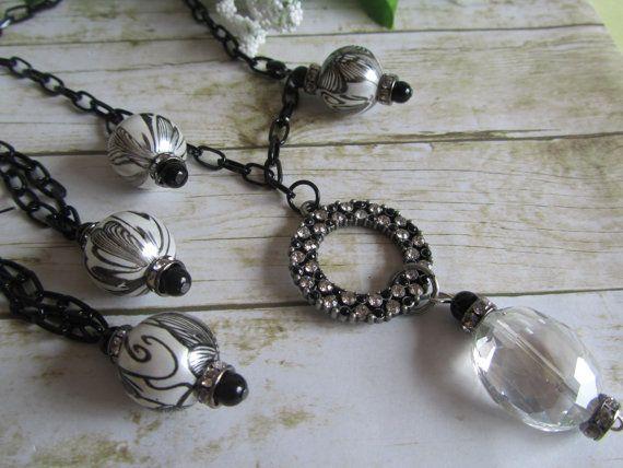 Black and White Rhinestone Necklace Black by BrownBeaverBeadery, $28.00