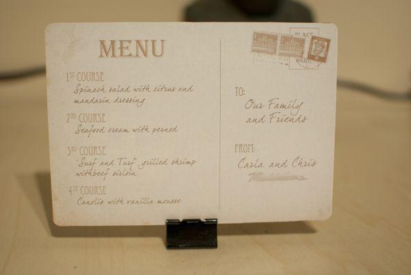 Postcard style menu