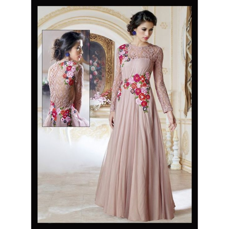 Viva N Diva Beige Color Net #Gown  #onlineshopping #fashion http://goo.gl/VJF7xg