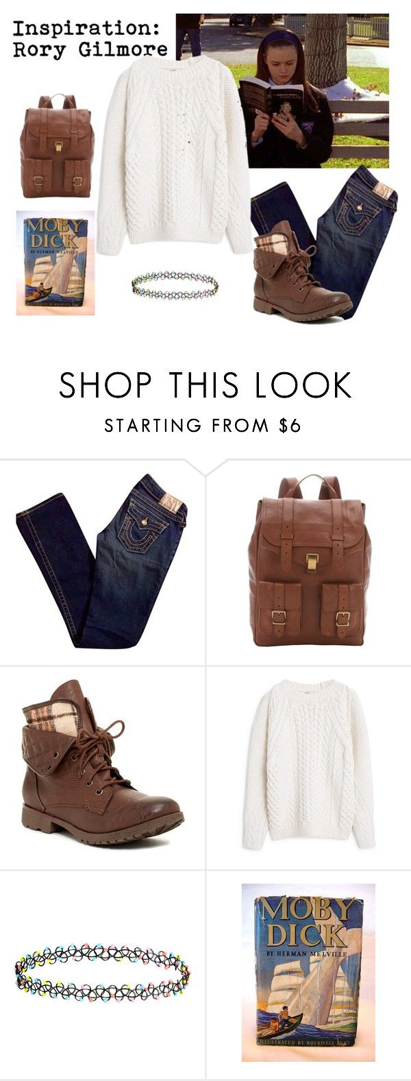 """Rory Gilmore"" by sparrows-and-poppy ❤ liked on Polyvore featuring True Religion, Proenza Schouler, Rock & Candy, MANGO and Accessorize"