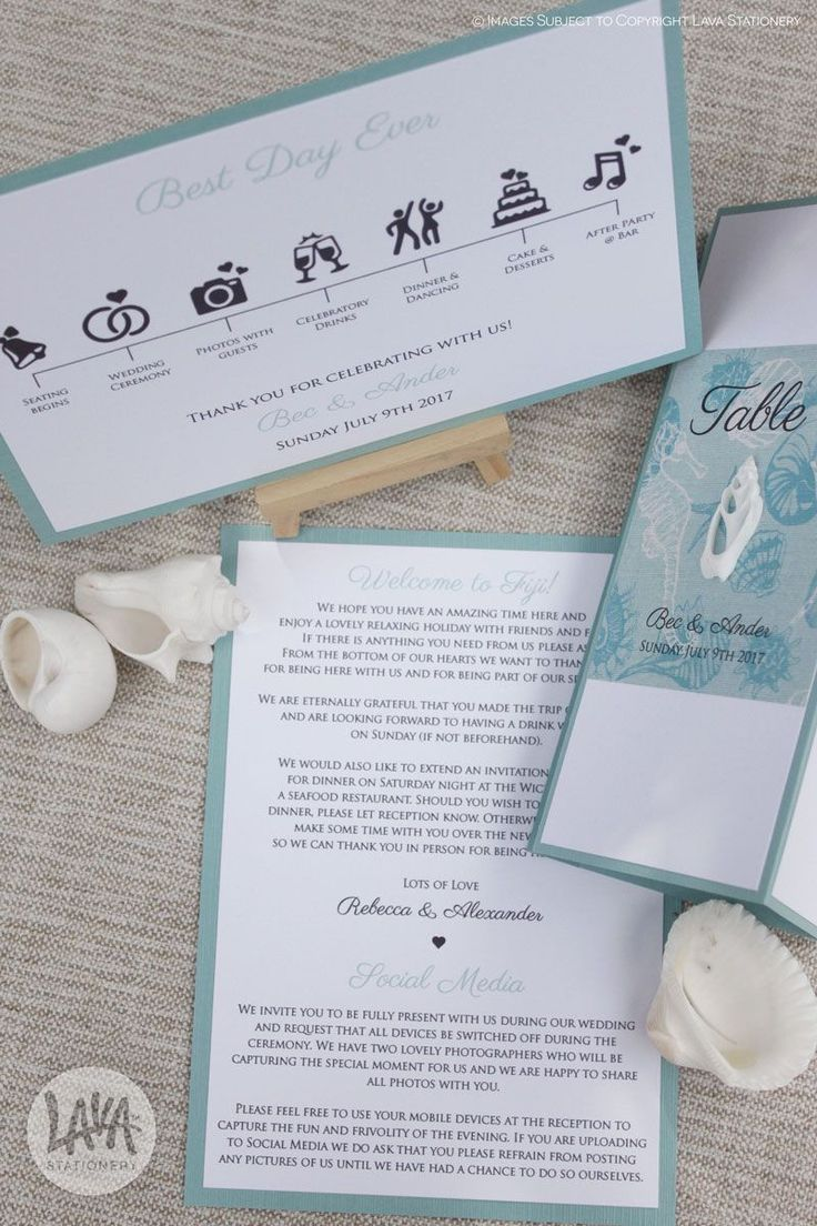 If you're having a destination wedding, including a welcome note in your guest bags is a nice way to let your guests know what's going on. Here is a welcome note, ceremony program and standing menus that double up as table numbers for a Fiji wedding.  •••  #weddingreception #receptionstationery #weddingmenu #3panelmenu #welcomenote #ceremonyprogram #infographic #seashellwedding #destinationwedding #fijiweddings #beachwedding #lavastationery #designedinaustralia #realwedding…