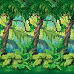 Scenesetter Jungle Trees -  Een gigantische wanddecoratie! Afmeting: 900 x 120cm! Verander uw huiskamer of zaal binnen 10 minuten in een jungle! U kunt deze wanddecoratie eenvoudig combineren met andere wanddecoraties om in de juiste sfeer te komen. Maakt ieder themafeest compleet.