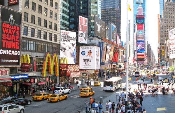 Broadway, New York City's theatre district. Heritage of America - visit AAA Vacations®    Picture courtesy of AAA Member Choice Vacations  Location: New York City