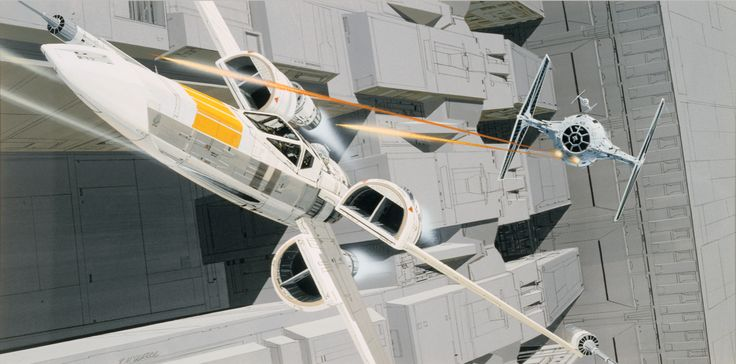 X-Wing & Tie Fighter Dogfight Concept ~ Ralph McQuarrie
