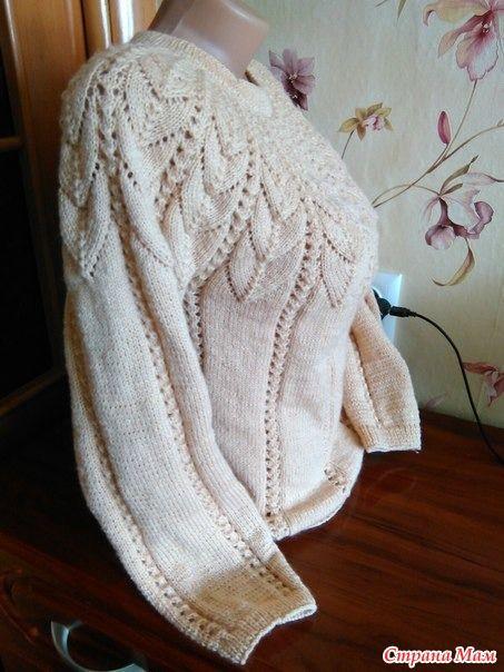 схемы вязания спицами кофты с ажурной кокеткой