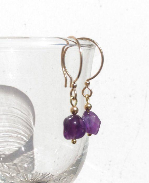 polished gemstone nuggets earrings Natural purple amethyst 14k gold filled hoop earrings February birthstone Aquarius birthstone earrings